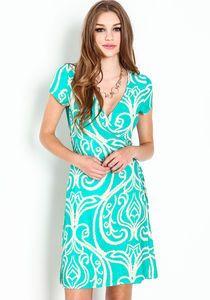 Baroque Wrap Dress, GREEN, large