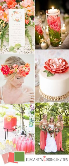 green and coral peach wedding color ideas for 2017 Peach Wedding Colors, Coral Wedding Flowers, Wedding Color Schemes, Green Wedding, Summer Wedding, Camp Wedding, 2017 Wedding, Trendy Wedding, Wedding Bouquets