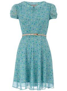 Petite aqua spot tea dress - Dorothy Perkins