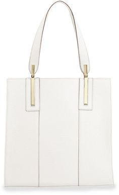 Neiman Marcus Thea Crocodile-Print Faux-Leather Tote Bag, White