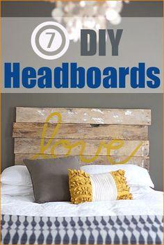 7 DIY Headboards.  Bedroom renovation ideas.  Affordable home improvements.  Master bedroom, teen bedroom and kid bedroom decorations.
