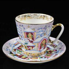 RUSSIAN+Imperial+Lomonosov+Porcelain+Bone+Tea+cup+&+saucer+Winter+Day+Gold+Rare+#ImperialLomonosov