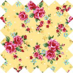 Small Gypsy Roses Yellow Fabric