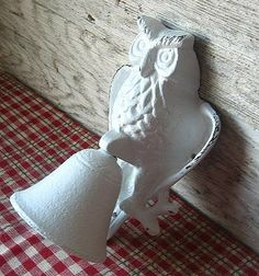 Cast Iron Owl Bell in Rustic White