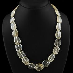 Genuine 365.00 Cts Untreated Rutile Quartz Beads Necklace fashion jewellery