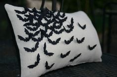 Bat Pillow by OutonaLimbDesign on Etsy, $35.00    She ❤ bats