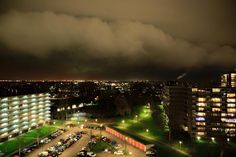 Impressive arcus cloud this evening over Zoetermeer Netherlands while a snow shower was approaching the city. Nice capture!  Photo by Sweetlakecity-Stormchasers 22/2/2016