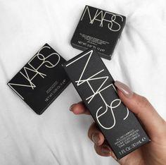 pinterest: @lilyosm   nars makeup collection flatlay foundation blush bronzer highlight concealer