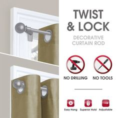 Smart Rods Twist and Lock No Drill Adjustable Window Curtain Rod, 28 - 48 Image 3 of 4 Curtains Without Rods, Curtains Without Drilling, Tension Rod Curtains, Diy Curtains, Tension Rods, Curtain Rod Holders, Hanging Curtain Rods, Diy Curtain Rods, Decorative Curtain Rods
