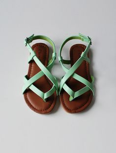 best summer sandals for girls i have seen in a long time... mint green leather sandals by wunway