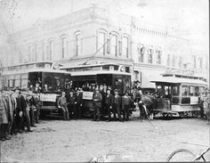 Electric streetcars officially replaced the horse railway in 1897.
