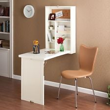 Wall Mount Desk Craft Organizer Folding Table Shelves Corkboard Writing White