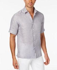 Tasso Elba Men's Paisley Jacquard Shirt, Only at Macy's - Gray XXL