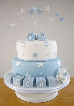Lucas' Christening Cake Baptism cake More Related posts: Pink and white christening cake Christening Cake Personalised Girls Christening Cake Decoration Kit Blossom Christening Cake Torta Baby Shower, Baby Shower Pasta, Baby Shower Cakes For Boys, Baby Boy Cakes, Babyshower Cake Boy, Baby Shower Blue, Baby Blue, Boys First Birthday Cake, Shower Bebe
