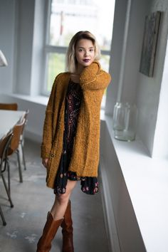 Free People Bouclè Cardi Cozy up in this super slouchy knit cardigan with large front snap button closures. Vintage Boots, Pocket Detail, Western Boots, Knit Cardigan, Must Haves, Brave, Free People, Velvet, Cozy