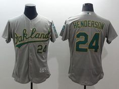 Athletics #24 Rickey Henderson Grey Flexbase Authentic Collection Stitched MLB Jersey