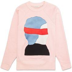Sweatshirt in loopback jersey pattern by Ekta ($445) ❤ liked on Polyvore featuring tops, hoodies, sweatshirts, pink top, print top, pink sweatshirts, patterned sweatshirt and patterned tops