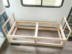 Looking to add custom seating inside your RV or camper? Come see how we created a custom RV sofa with additional storage space! Rv Sofa Bed, Ikea Couch, Diy Sofa, Build Your Own Couch, Vintage Camper Interior, Vintage Campers, Rv Interior, Vintage Trailers, Interior Ideas