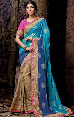 Picture of Fabulous Beige and Aqua Blue Online Wedding Saree