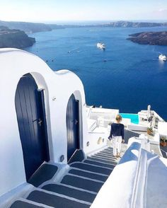 White and blues ~ Santorini, Greece.