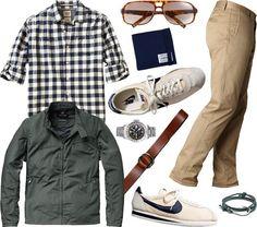 coat jacket shirt sneakers tennis shoes khaki chinos  sunglasses belt . winter