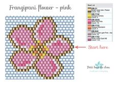 Discover my free Miyuki beading patterns to create beautiful frangipani flowers using the brick stitch technique. Bead Embroidery Patterns, Beading Patterns Free, Bead Loom Patterns, Peyote Patterns, Pink Patterns, Beading Tutorials, Jewelry Patterns, Flower Patterns, Weaving Patterns