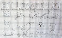 Lavoretti con i bambini: le cornicette di Halloween Halloween Bingo, Halloween Crafts, Doodle Drawings, Easy Drawings, Bullet Journal Key, Graph Paper Art, Blackwork Embroidery, School Items, Cross Stitch Borders