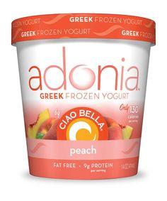 Adonia Greek Frozen Yogurt by Ciao Bella.  peach. only 130 calories per serving. #fatfree #lowcal #adonia