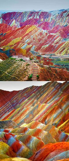 Danxia Landform Geological Park in Gansu, China. The rainbow mountains became a UNESCO World Heritage Site in 2010. The colors are the result of mineral deposits and red sandstone from over 24 million years ago.
