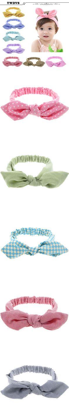 TWDVS Headwear Rabbit Ear Baby Headband Style Hair Bow Elastic Knot Top Hair Bands Hair Bands Hair Accessories KT004 $1.65