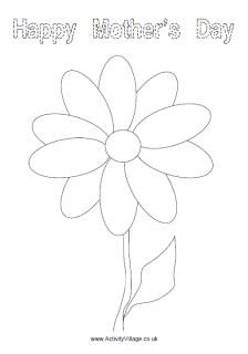 Happy Mother's Day flower colouring page