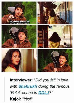 Shahrukh Khan and Kajol - Palat scene from DDLJ (1995)