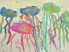 simple jellyfish painting video--could do with 2nd grade!