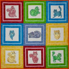 Decorative Cats Mylar or Applique Quilt