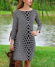 Black & White Moiré Three-Quarter Sleeve Shift Dress | zulily