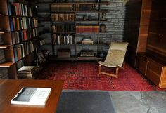The study at Fallingwater. Fallingwater Interior, Best Interior, Interior And Exterior, Falling Water Frank Lloyd Wright, Falling Water House, Frank Lloyd Wright Buildings, Waterfall, Guy, Mid Century