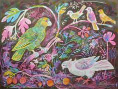 Still Life with Amazon Parrot #featured #lithograph #Mark-Hearld