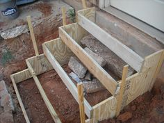 How to make concrete stairs design 39 Ideas Patio Steps, Outdoor Steps, Garden Steps, Cement Steps, Wood Steps, Diy Patio, Concrete Porch, Concrete Stairs, Deck Stairs