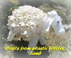 Crafts from plastic bottles: Lamb