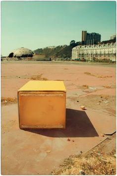 a yellow box on Folkestone sea front