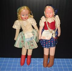 """2 VINTAGE 12"""" POLAND CLOTH DOLLS WITH COMPO HEADS"""