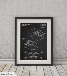 X-WING PATENT  by Vintage Patents | Art Print    THE PRINT    Art print reproduction of the original 1980 patent for the X-Wing Fighter.