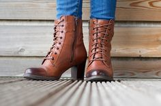 Autumnal wardrobe - Clarks brown leather lace up and zip heeled ankle boots  | The Lifestyle Archives