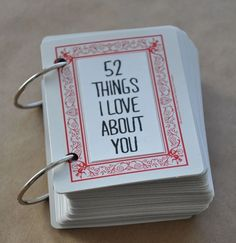 "52 Things I Love About You. Deck of cards. ""Perfect gift for Valentine's, Birthday, Anniversary, or just because"""