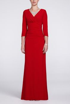 Brides: David's Bridal. Style 8240, 3/4 sleeve long jersey dress, $119, David's Bridal