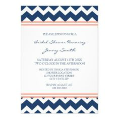 Blue Coral Chevron Bridal Shower Invitation Cards We have the best promotion for you and if you are interested in the related item or need more information reviews from the x customer who are own of them before please follow the link to see fully reviewsDiscount Deals          	Blue C...