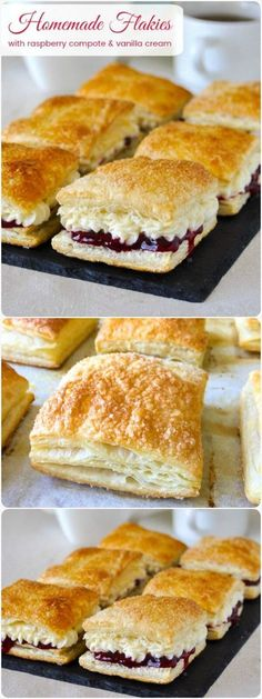 Homemade Flakies, a nostalgic tribute to a Canadian classic! - - Homemade Flakies with raspberry compote & vanilla cream - a nostalgic tribute to the Vachon Flakie, one of my very favourite snack cake treats as a kid. Tasty Pastry, Puff Pastry Desserts, Köstliche Desserts, Dessert Recipes, Cake Recipes, Puff Pastries, Choux Pastry, Shortcrust Pastry, Raspberry Pastry Recipes