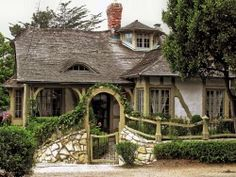 Carmel-by-the-Sea (CA) - a shingle style cottage of adobe brick and rough hewn wood with local stonework fencing Style Cottage, Cute Cottage, Cottage In The Woods, Cottage Living, Cottage Homes, Cottage Interiors, Tudor Cottage, Witch Cottage, Irish Cottage
