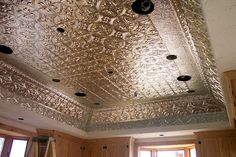 Decorative metal used for a ceiling.