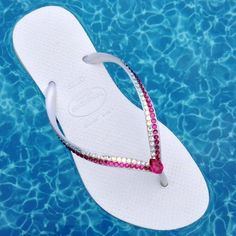 f40ad9c608d044 Crystal Havaianas Slim flat Flip Flops w  Swarovski Fuchsia Moonlight Ivory  Rhinestone Jewel Custom Bling Beach Bridal Wedding Sandals Shoes